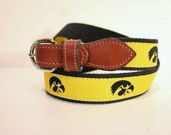 University of Iowa Hackeyes  Men's  Web Leather Belt
