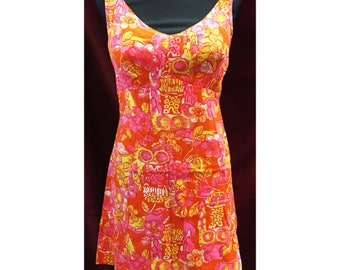Vintage 1960's Orange/Pink/Yellow Dress Amazing Vibrant Colors