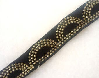 Black Trim Ethnic Embroidered Ribbon Craft Supply Indian Ribbon Trim Sewing Supply Trimmings By The yard