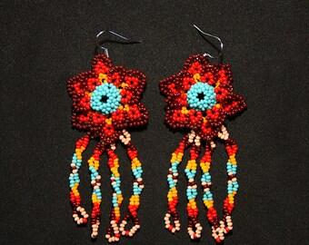 Pretty Florette Earrings, Native American Beaded Earrings, Huichol Earrings, Southwestern Florette Earrings, Traditional Beadwork