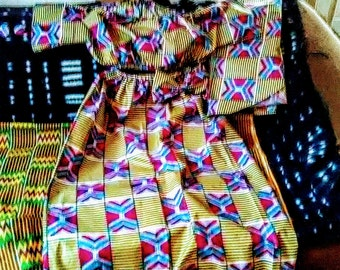 Kente Print African  maxi skirt with matching head wrap xl-4x  2 pc Free shipping
