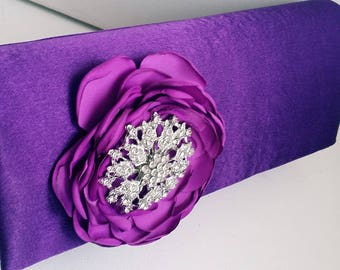 Purple Bridal Clutch with Rhinestone ~ Wedding Clutch, Bridesmaid Clutch ~ Bouquet Clutch- Evening Bag ~ Mother of the Bride, Prom
