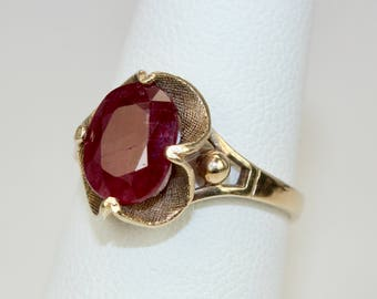 Vintage Ladies Ring 1.75 Carats Natural Ruby Solitaire 10K Yellow Gold Sz 6.5 Engagement Statement c1950s