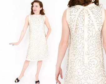 60s Creme Dupioni Silk Beaded Dress   Sleeveless Party Dress with Intricate beading   Wedding Dress   Jackie O   Medium