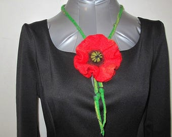 Red beauty: wet felted poppy neckless