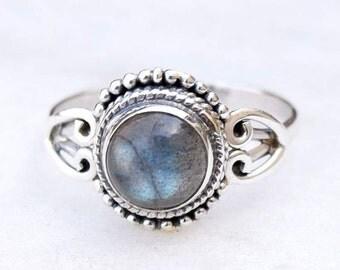 Labradorite Ring - Gemstone Ring - Stacking Ring - Ring - Oval Ring - Gift for Her - Sterling Silver Ring - Blue Labradorite Jewelry