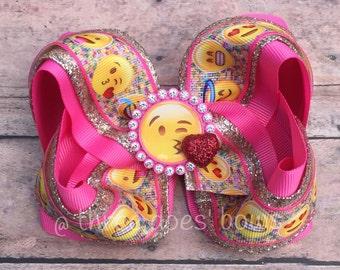 Emoji  Hair Bow - Emoji Twisted Boutique Bow - Emoticon Bow - Emoticon Boutique Bow -Big Emoji Hair bows - Emoji Hair bows