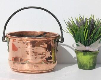 Antique  French copper cauldron,bucket,hammered ,planter,