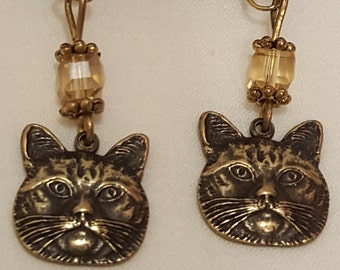 Cat Face Earrings, Bronze Tone