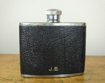 Vintage hipflask 4oz black leather monogrammed J.S. JS 1980s stainless steel