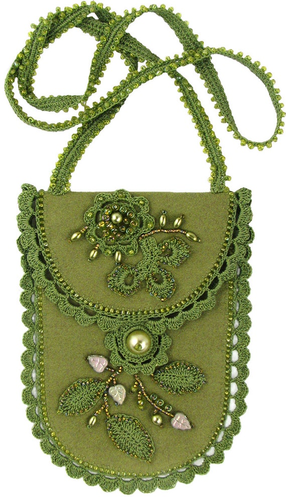 Dame eva bead crochet ultrasuede bag kit by ann benson