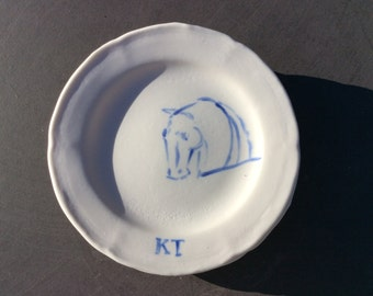 Handmade ceramic small plate with hand painting whippet illustration