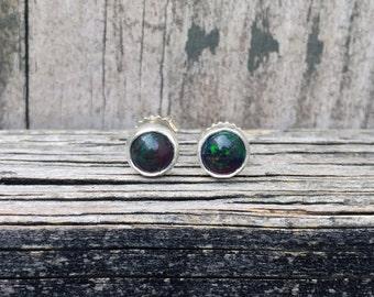 Black Opal Stud Earrings - Black Opals - Black Opal Posts - Sterling Silver - Black Opal Earrings - Opals- Opal Jewelry - October Birthstone
