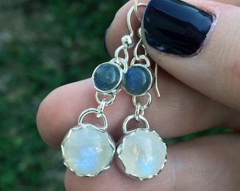 Labradorite and Rainbow Moonstone Earrings - Long Earrings - Sterling Silver - Dangle Gemstone Earrings - Labradorite - Rainbow Moonstone