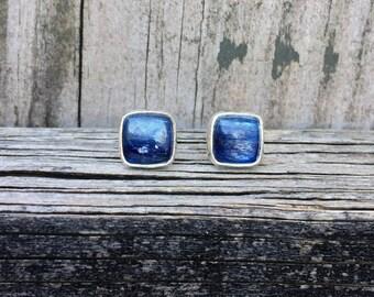 Kyanite Post Earrings - Kyanite Studs - Blue Post Earrings - Sterling Silver - Square Studs - Kyanite Earrings - One of a Kind - Gemstones