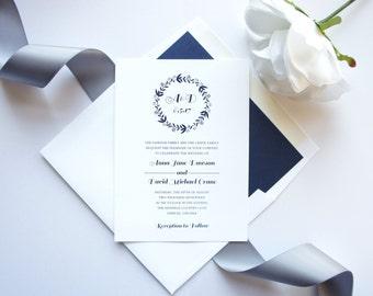 Rustic Wedding Invite, Rustic Invitations, Monogram, Navy Blue Wedding Invitations, Rustic - Deposit