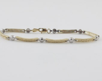 Ornate Design Bracelet 14k Yellow And White Gold 7 1/2 Inches 7.3 grams