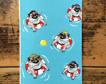 Notebook - Pugs in the Pool - A6