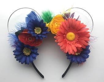 UP's Kevin Inspired Mickey Ears, Wire Ears, Floral Ears, Wire Floral Ear Headband, Mickey Ears, Wire Ear Headband, Disney Ears, Flower Crown
