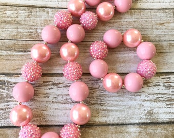 Pink Chunky Necklace, Pink Girls Necklace, Girl Toddler Princess Bubblegum, Pink 1st Birthday Bubblegum Necklace, Princess Party