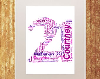 Number A4 Word Art, Home Decor, Wall Art, Memories