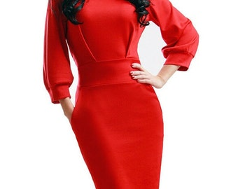 Red dress  Occasion dress to the knee Elegant red dress Spring red Autumn dress for women Business woman evening red dress