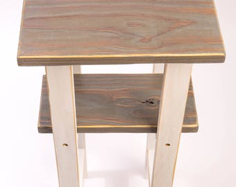 Accent End Table Handmade Gray and White Repurposed Reclaimed Wood