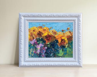 Sunflowers Oil Painting Abstract Painting Sunflowers Picture Sun Flowers Art Sunflowers Gift for Her Wife Gift Mother's day Gift for Him
