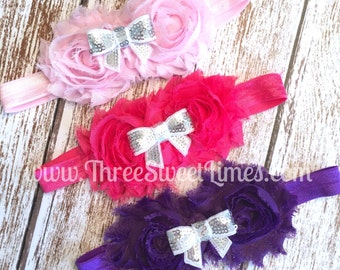Baby Girl Headband | Pink Purple Rosette | Sequin White Bow | Baby Shower Gift | Shabby Chic Photography Prop | Boutique Bow