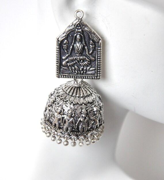 Tribal Silver jhumki earrings | antique earrings | Indian earrings