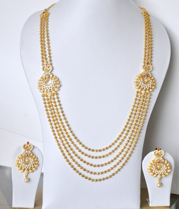 Gold plated cubic zirconia Indian necklace set chandra haaram | Indian bridal Jewelry set perfect for Indian weddings