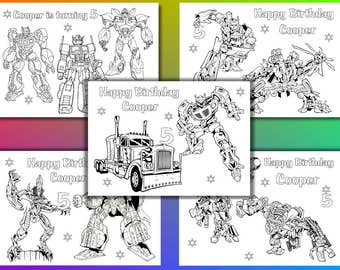 Transformers coloring pages, Transformers Birthday Party favor, PDF file