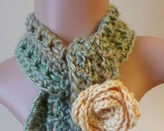 Skinny Crochet Scarf Skinny Spring Scarf OOAK