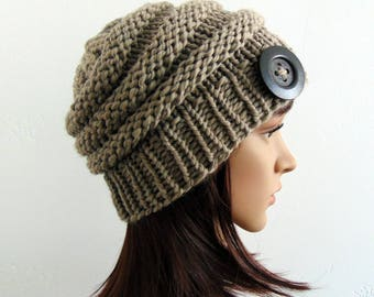 Chunky Knit Hat Merino Wool Hat Knitted Beanie Taupe Gift for Her Hand Made in Alaska Button
