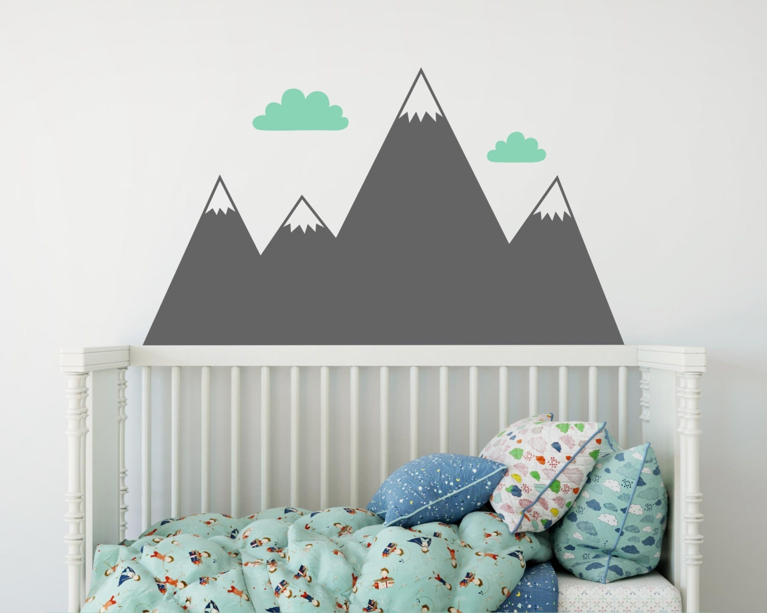 Mountain wall decal nursery decal mountain decals kids zoom amipublicfo Choice Image