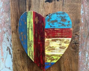 Multi-colored Heart Silhouette, Barn Wood, Reclaimed Wood, Wood Wall Art, Wall Decor, Heart, Silhouette