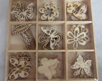 Wooden Box of Flowers and Butterfly Embellishments