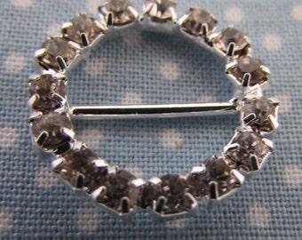 Silver and Rhinestone Ribbon Slider Buckle