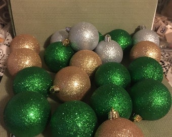 Christmas Glitter Ornament Balls; Set of 20 including 10 green, 4 silver, and 6 gold; Glittery and Glamourous Tree Decor