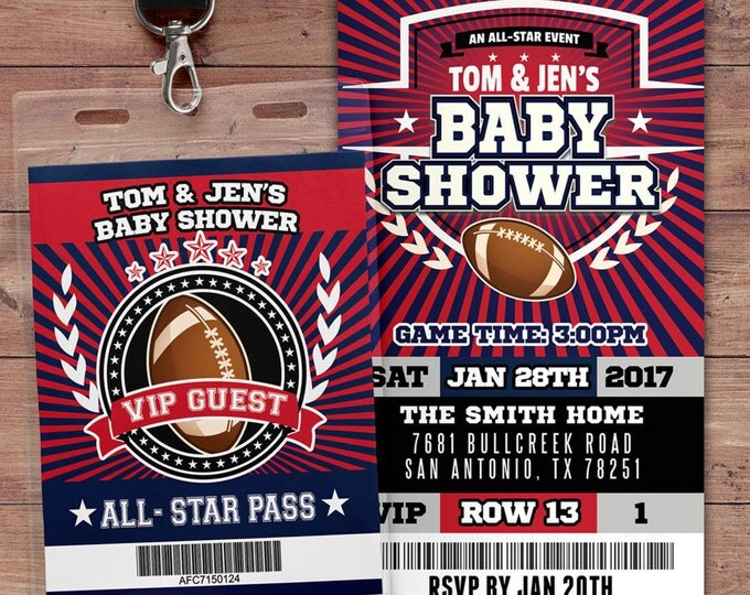 Football ticket Invitation, Baby Shower, All Star Birthday, VIP pass,, Super Bowl, sports birthday, Bar Mitzvah, football, Co-ed shower