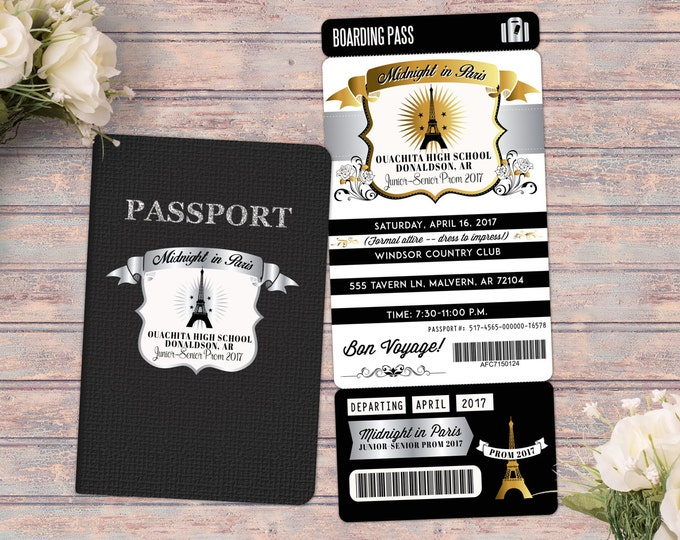 Paris,,Prom,PASSPORT and TICKET invitation! Birthday invite, bridal shower- travel birthday part, prom, passport invitation, dance