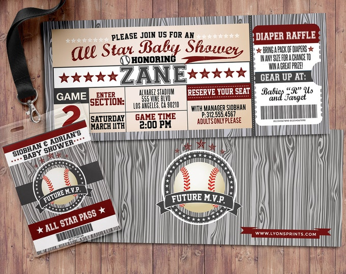 Vintage Baseball Shower Invitation // All Star Little Slugger Baby Shower // FREE VIP pass design with purchase - BIRTHDAY invitation