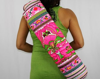 YOGA MAT BAG - Vibrant Colorful Embroidered, Pilates Bag, Hill Tribe Fabric, Yoga Bag, Hmong Bag, White Background Fabric, Flower Hot Pink