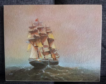 Schooner Clipper Sailing Ship Lithograph Print by Winger #364 stamped and Titled on back 8 x 10