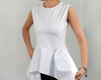White peplum top/ sleeveless peplum blouse.