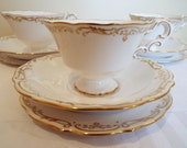 Vintage Copeland Spode Teacup and Saucer Trio, White and Gold. Hand Painted Tea Cup and Cake Plate, Perfect For An Afternoon Tea Party!