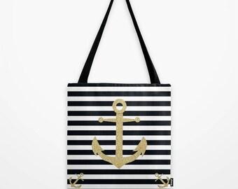 Nautical Tote Bag Striped Anchor - 13x13 16x16 18x18 - Cute Gift for Women Birthday Coastal Naval Marine Black and White Shopping Market