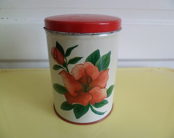 "Vintage Metal Kitchen Small Canister Hibiscus Flower 6-1/2"" National Can Corp."