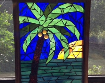 Stained Glass Mosaic Window Hanging/ Sun Catcher/ Palm Tree/ Beach/ Sunset/Glass on Glass