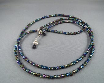 Black rainbow beaded eyeglasses holder chain ,you choose length , stylish lanyard for holding any eyeglasses or sunglasses new cute design